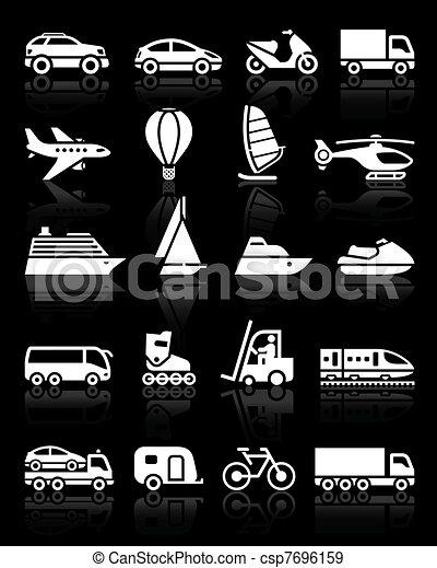 eenvoudig, set, vervoeren, iconen - csp7696159
