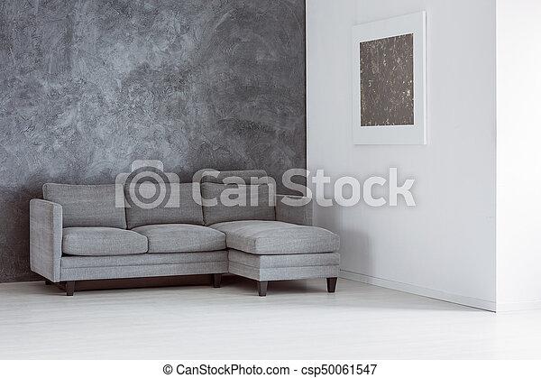 Eenvoudig, woonkamer, lege. Woonkamer, eenvoudig, sofa, grijze ...