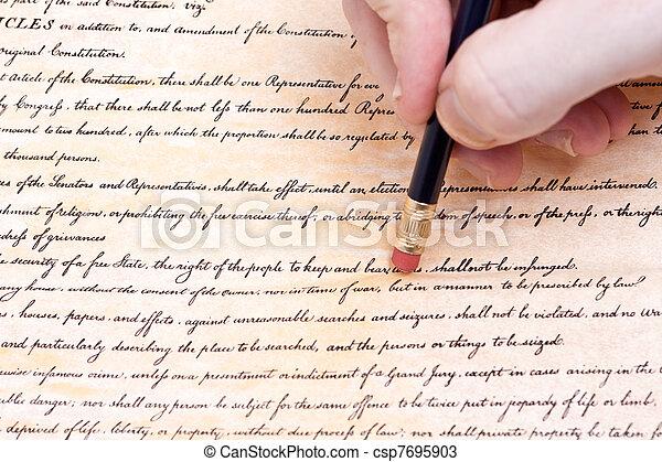effacement, nous, amendement, seconde, constitution - csp7695903