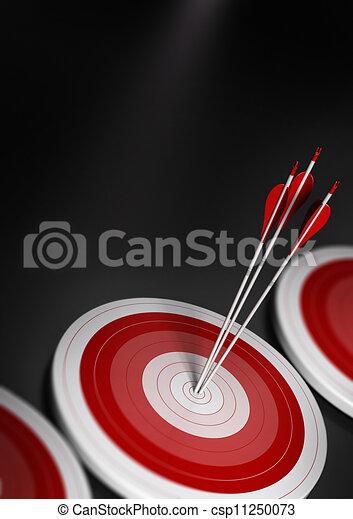 effekt, eins, konkurrenzfähig, strategisch, ziele, blaues, geschaeftswelt, concept., drei, verwischen, bild, senkrecht, erreichen, marketing, a4, zielmarkt, zentrieren, viele, pfeile, oder, vorteil, format., zuerst - csp11250073
