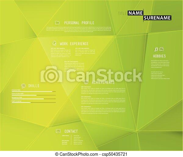 Effet Créatif Arrière Plan Vert Gabarit Cv 3d