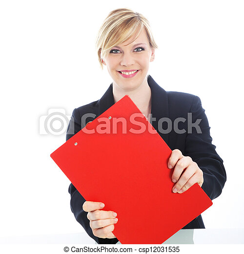 Efficient businesswoman with red clipboard - csp12031535