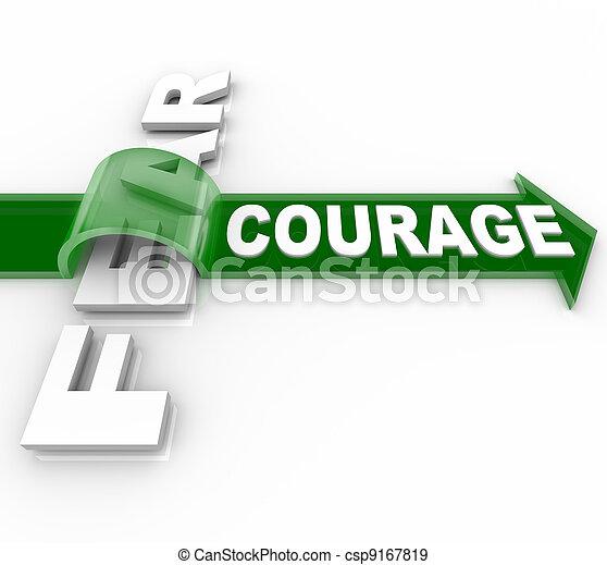effrayé, courageux, vs, surmonter, courage, peur, bravoure - csp9167819