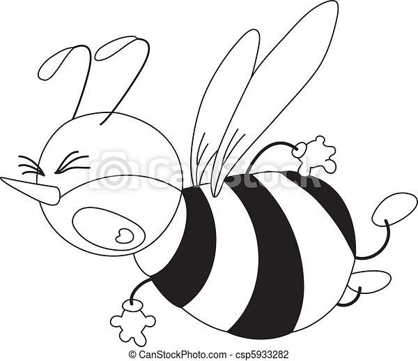 effrayé, esquissé, abeille - csp5933282