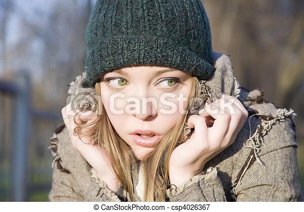 effrayé, girl - csp4026367