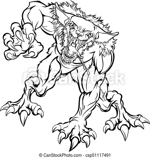 Effrayant caract re monstre loup garou effrayant caract re monstre illustration loup garou - Dessins de monstres ...