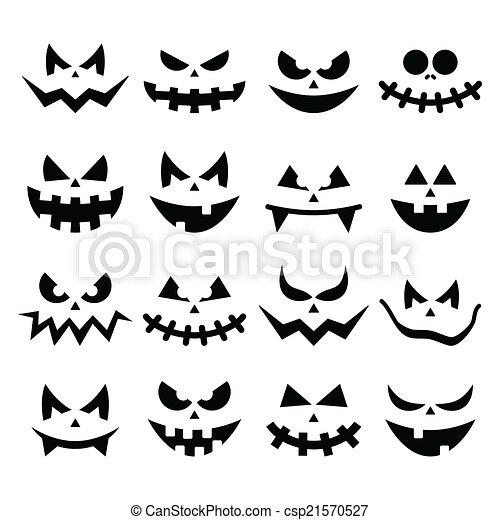 effrayant, citrouille, faces, halloween, icônes - csp21570527
