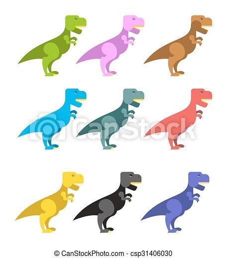 effrayant, dinosaurs., angryl, animaux, rex., reptile., period., t-rex, ancien, prédateur, préhistorique, ensemble, grand, coloré, dinosaur., mignon, tyrannosaurus - csp31406030