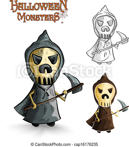 Effrayant Eps10 Halloween File Monstres Reaper Dessin Animé Sinistre