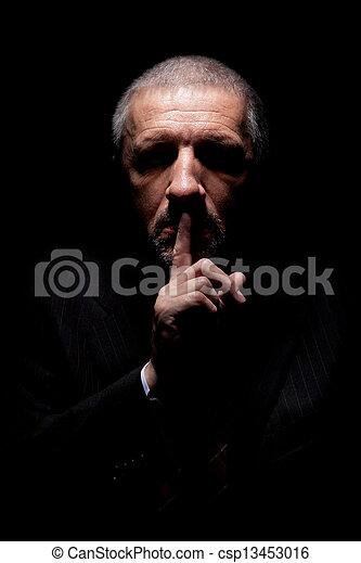 effrayant, faire gestes, silence, homme - csp13453016