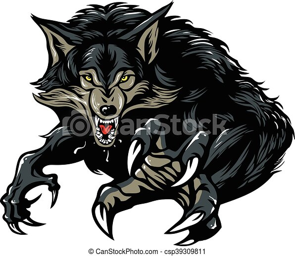 effrayant  grogner  loup garou effrayant  grogner wolf head logo design Wolf Head Outline