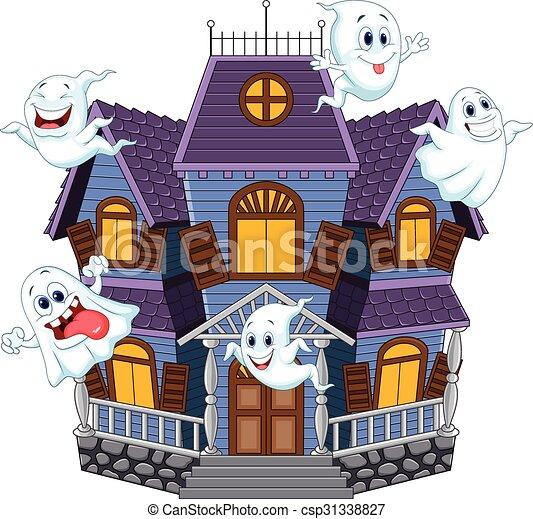 Effrayant halloween dessin anim maison effrayant rigolote maison halloween illustration - Dessin de maison hantee ...