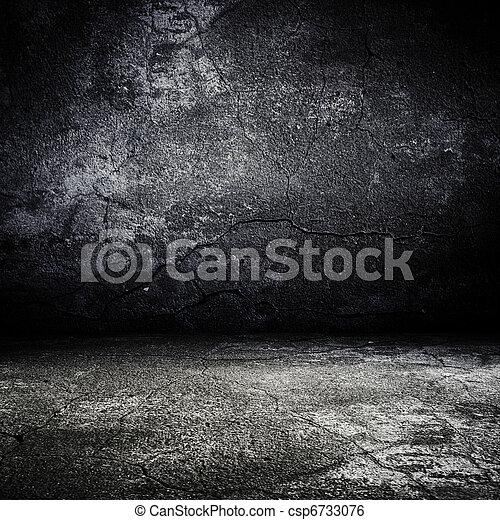 effrayant, vieux, salle, texture, béton, grunge - csp6733076