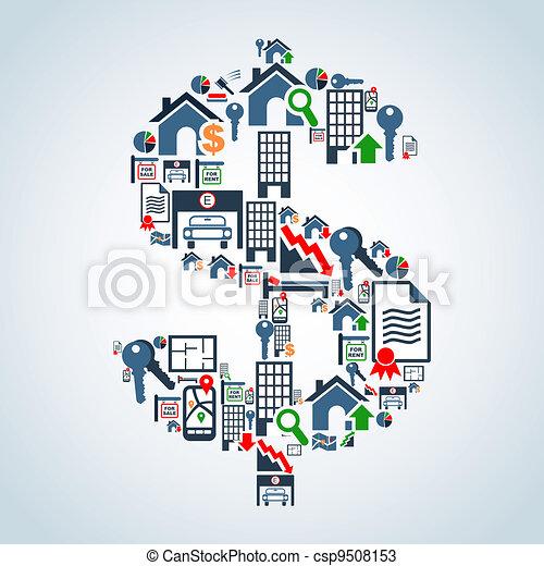 egenskap marknadsför, investering, affär - csp9508153
