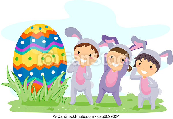 illustration of kids on an easter egg hunt drawing search clip art rh canstockphoto com easter egg hunt 2017 clipart church easter egg hunt clipart
