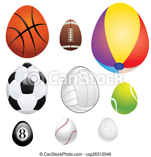 egg shaped sport balls abstract sport balls in a shape of rh canstockphoto com clipart pictures sports balls