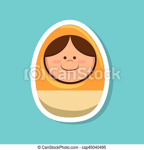 egg with face toy - csp45040495