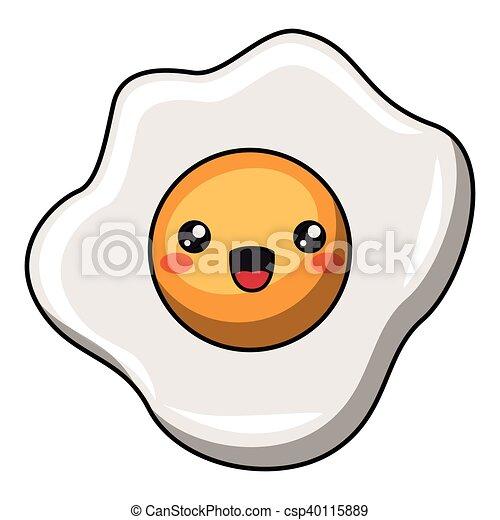 Egg with kawaii face design - csp40115889