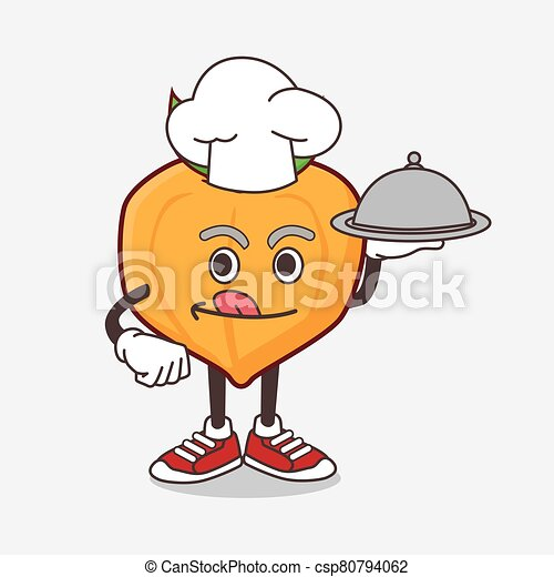 Eggfruit cartoon mascot character as a Chef with food on tray ready to serve - csp80794062