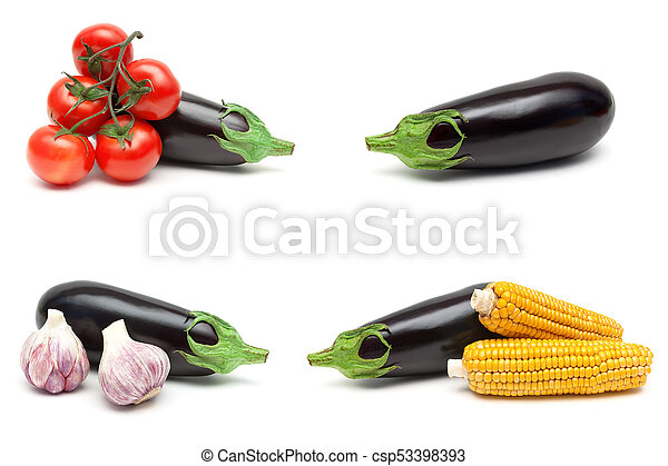 eggplant and other vegetables isolated on white background - csp53398393