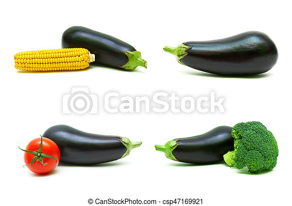 Eggplant and other vegetables on a white background. - csp47169921