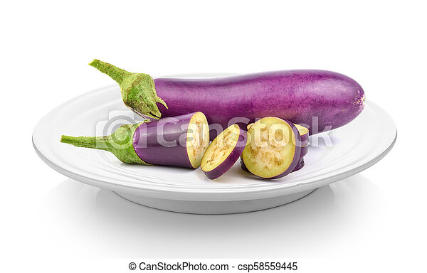 eggplant in plate on white background - csp58559445