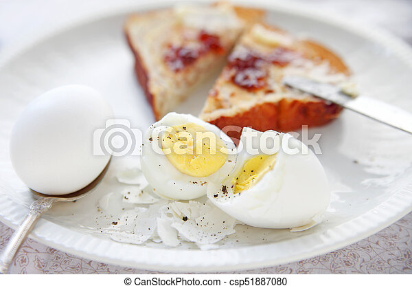 Eggs and toast breakfast - csp51887080