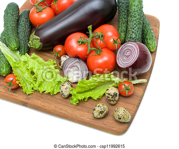 eggs, eggplant and other vegetables on a white background - csp11992615