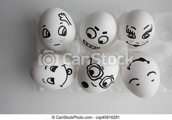 Eggs Funny With Faces Concept Of A Hostel Friends