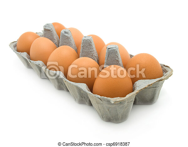 eggs in a carton on white background - csp6918387