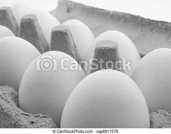 eggs in a carton on white background - csp6911579