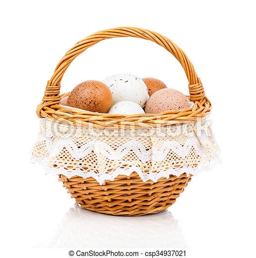 Eggs in basket isolated on white background - csp34937021