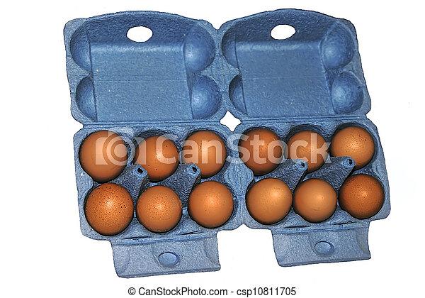 Eggs in blue packaging - csp10811705