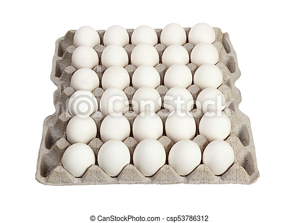 eggs in carton package on white background - csp53786312