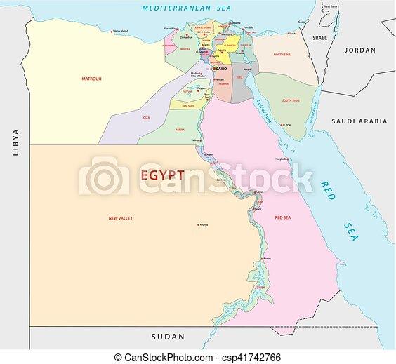 Egipt Mapa Administracyjny Polityczny Egipt Mapa Wektor