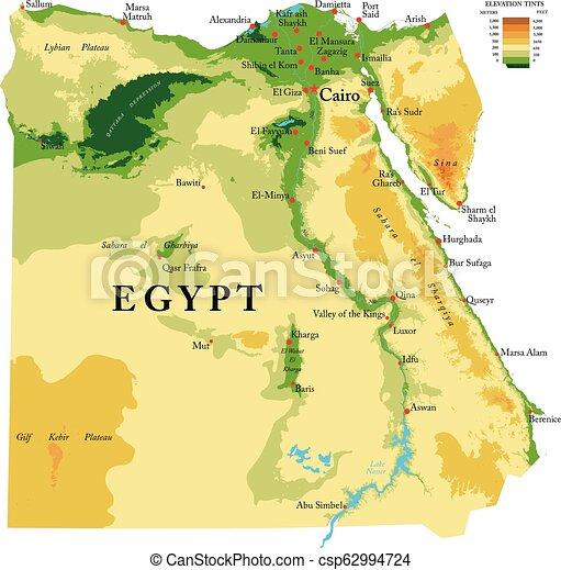 Egipt Mapa Fizyczny Szczegolowy Mapa Wszystko Egipt Cielna