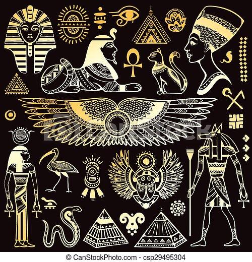 egipt, symbolika, komplet, odizolowany, wektor - csp29495304