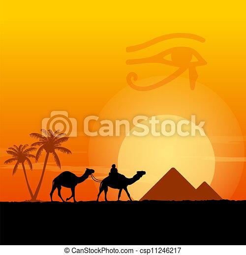 egipto, símbolos, pirámides - csp11246217