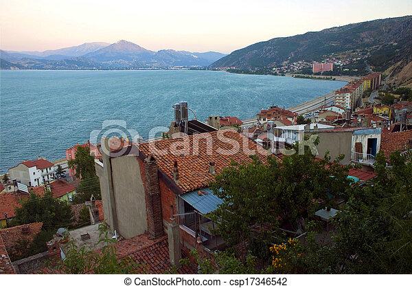 Egirdir town with Egirdir lake, Turkey - csp17346542