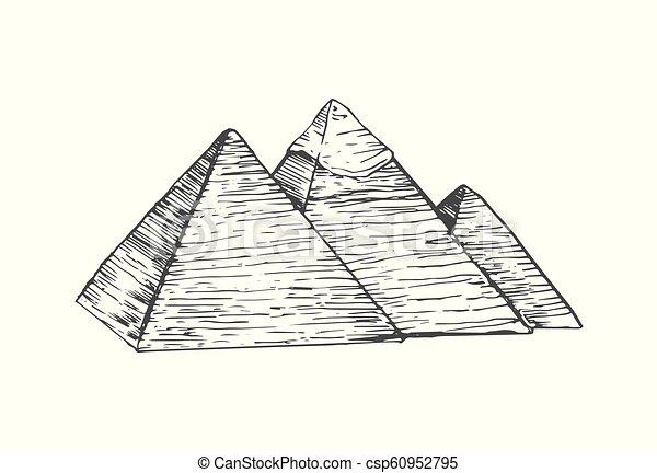Egito Ilustracao Piramides Apartamento Estilo Egito Isolado