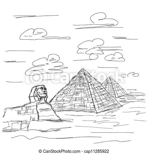 Egito Piramide Esfinge Destino Turistico Ilustracao Mao