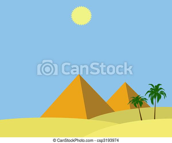 Egito Piramides Egito Sol Dois Ilustracao Piramides Brilhar