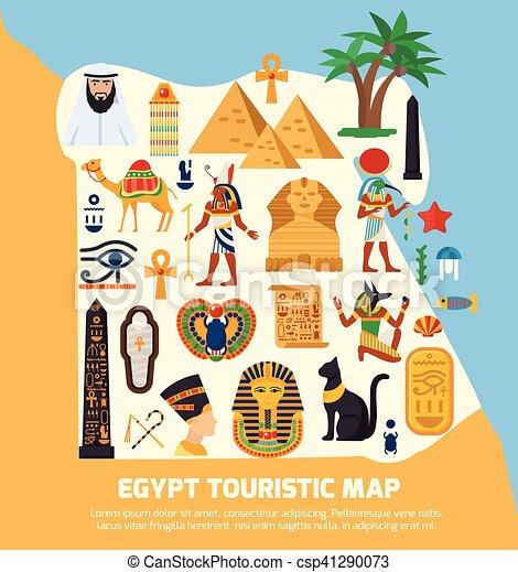 Cartina Turistica Egitto.Egitto Mappa Turistico Mappa Appartamento Egitto Nazionale Turistico Viste Illustrazione Simboli Vettore Limiti Canstock