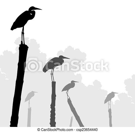 Egret perches - csp23654440