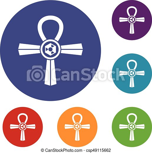 Egypt Ankh Symbol Icons Set In Flat Circle Red Blue And Green Color