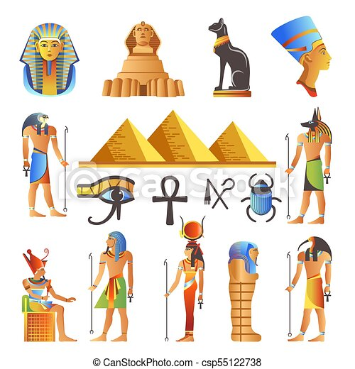 Egypt culture symbols vector isolated icons of gods and sacred animals - csp55122738