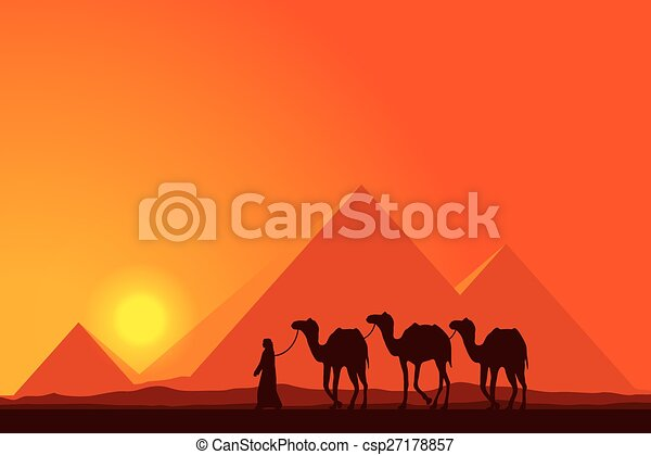 Egypt Great Pyramids with Camel caravan on sunset background  - csp27178857