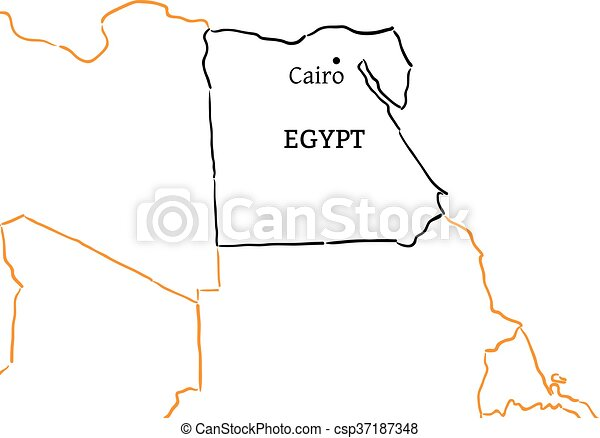 EPS Vector Of Egypt Handdrawn Sketch Map Egypt Country With Its - Map of egypt with capital
