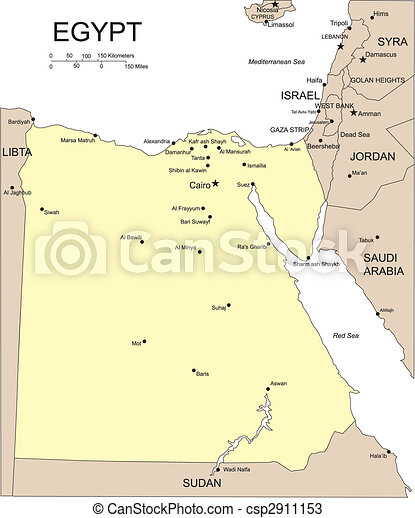 Vectors Of Egypt Major Cities And Capital Egypt Editable - Map of egypt with major cities