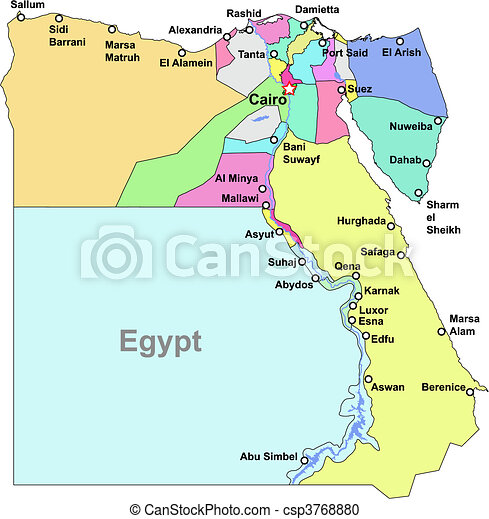 Vector Clipart Of Egypt Map Color Egypt Vector Map With Regions - Map of egypt vector free